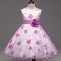 online shopping Dress Gowns - Baby Girls Flower Dresses Toddler Infant Princess Costume With Flower And Bow Children's Clothes For Wedding Party 2016