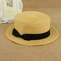 Wholesale Striped Straws Blue Free Shipping - Summer Japan Style Straw Bow Hat Beach Sun Fashion Hat Top Quality For Lady Free Shipping