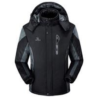 Wholesale winter snowboard coat men - Winter Mens Waterproof Soft Shell Jackets Snowboard Outerwear for Men Fleece Jacket Warm Thick Clothing Coats for Male