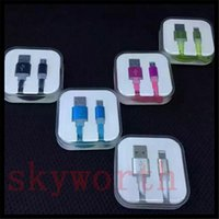 Wholesale Noodles Boxes - Candy color Micro Usb Cable Coloful Flat Noodle Date Sync Charging Flashing Cable Cord for Samsung Galaxy S7 android phone With Crystal Box
