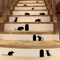 Wholesale Mouse Wall Stickers - 100pcs 9 cute mouse hole wall stickers room decoration ZY705 3D diy vinyl adesivos de paredes home decals animals mural art poster 4.5