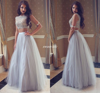Wholesale modern college dress resale online - Long Tulle A Line Prom Dresses Two Piece Crystals Beading Sleeveless Full Length Sexy College Homecoming Party Dress Evening Gowns