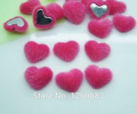 Wholesale Quilt Fabric Hearts - Free Shipping 100pcs 17mm*15mm Hot pink Color Heart Handmade Velvet Fabric Covered Chunky Buttons - Flat Backs AL008
