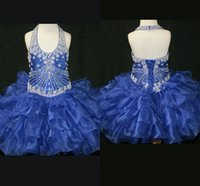 Wholesale Ivory Cup Cake - Royal blue organza Cute Cup Cake Girls Pageant Dresses 2017 beaded halter toddlers prom party dresses pageant gowns flower girl dress