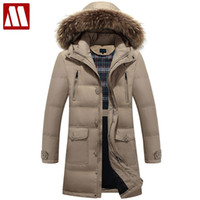 Wholesale Long Winter Parka For Men - Wholesale- 2017 New down parka men winter jacket men's high quality hooded down coat thick long coat for Male fur collar plus size 3XL 4XL