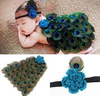crochet bebé establece accesorios de fotografía al por mayor-Baby Peacock manto traje traje recién nacido accesorios de fotografía Peacock Pluma Cabo con diadema Crochet Animal Set