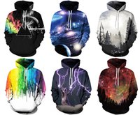 Wholesale 3d Christmas - New Christmas 2017 fashion Galaxy men women's fall Autumn winter pullover hoodies sweatshirt Long Sleeve Hoodies 3D print With Hat Plus Size