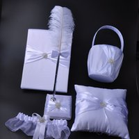 Wholesale Wedding Diamond Guest Book - 5Pcs set Satin Pearl Diamond Wedding Guest Book& Feather Pen Set &Ring Pillow &Flower Basket &Garter Decor Product Supplies