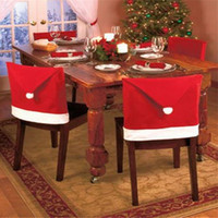 Wholesale Table Covers Sale - Free Shipping Hot Sale 4pcs Lot Fashion Santa Clause Red Hat Chair Back Cover Christmas Dinner Table Party Decor For Xmas