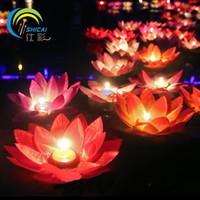 casamento de lata de água flutuando velas venda por atacado-Presente romântico Dia dos Namorados Lotus Desejando Lâmpada Vela Votiva Flutuante Vela de Aniversário Lâmpada Lanterna Da Água Decoração Do Casamento