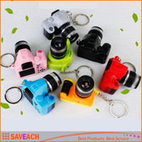 Wholesale Toys Keychain Camera - Creative camera Led keychains With sound LED Flashlight Key chain Fancy toy Key Ring Amazing gift Keychain