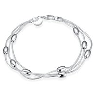Wholesale Three Lines Beads Jewelry - Simple Fashion Silver Plated Bracelet 925 Jewelry Silver Smooth Beads Charms Bracelet Bangle Three Line Chain for Girl and Women Beauty Gift