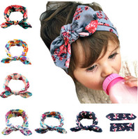 Wholesale Baby Ear Band - 6 Colors Flora Print Bow Knot Baby Girls Hairband Rabbit Ear Bowknot Headband Cotton Head Band for Kids Girls KB519