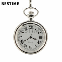 Wholesale Pocket Dial - BESTIME Watch Quartz Movement Simple Open Face Pocket Watch Chain Roman Numbers Silvery Case White Dial