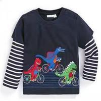 Wholesale Dinosaur Boy T Shirt - Dinosaur Boys T shirt Boys clothes Long sleeve Cartoon Fake two-pieces European New style 2017 Autumn Spring Bottom Top 1-6T 100%cotton.