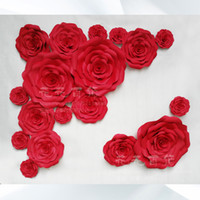 Wholesale background size - Wedding Backdrops 18pcs different sizes Combination Foam Paper big rose flowers for Wedding background decorations 1.8*2.2m wall