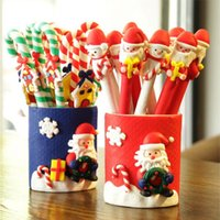 Wholesale Child Crutches - Ballpoint Pens Soft Potty Creative Santa Claus Crutches Shape Christmas Supplies Children Gifts Xmas Decor Stationery 1 5qy F R