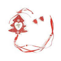 Wholesale christmas hanging decoration set wood red tree heart hanging craft with string party supplies
