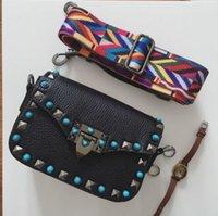 Wholesale good messenger bags - Hot new style design fashion cute mini good quality rivets big blue stone braided strap shoulder bag ladies messenger bag purse