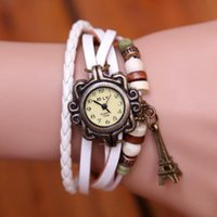 Wholesale Charms Pins - Charms Watches Bracelet Women Watches Fashion Leather Quartz Wrist Watches Goddess Crown Round Dial Drop Free Shipping