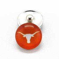 Wholesale Wholesale Longhorns - Hot sale 18mm glass snaps charms 20pcs lot NCAA Texas Longhorns sports team snaps buttons fit necklace braceket jewelry
