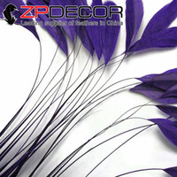 Wholesale Wholesale Coque Tail Feathers - Golden Manufacturer ZPDECOR 15-20cm(6-8 inch) Dyed Eggplant Stripped Coque Rooster Chicken Tail Feathers Craft for Sale