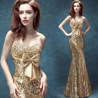 Wholesale Gold Crystals Mermaid Dress - 2016 New Gold Sweetheart Mermaid Prom Dresses Crystal Beaded Graduation Dress Sparkling Sequins Lace Formal Catwalk Evening Dresses