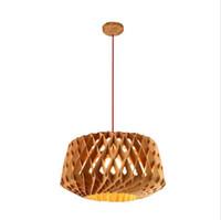 einstellbare leuchte großhandel-Bienenwabenpendelleuchte DIY führte die hölzerne hängende Leuchterlampe, die Tropfen Lampe w / Red Draht justierbare Stange führte, die helle Befestigung speist