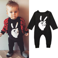 Wholesale Trendy Rompers Jumpsuits - 2016 Trendy Newborn Baby rompers kids Boys Girls Fist cool finger HEY Bodysuit cotton o-neck Jumpsuit children cotton Outfits Set Clothes