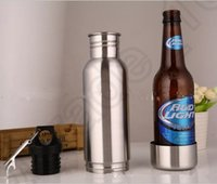 Wholesale Beer Stainless - Beer Bottle Armour Koozie Keeper Stainless Steel keeper Armour Bottle Koozie Insulator with Bottle Opener 10pcs OOA611