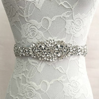 Wholesale Diamond Bridal Belts - Wholesale- Trendy Magnificent Crystal Bridal Luxury Female Strap Floral Dress Women Belts Diamond Waistband Girdle Headband for Wedding