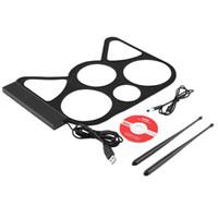 kits de bateria eletrônicos venda por atacado-Portátil USB PC Desktop Eletrônico Roll Up Drum Pad Kit Set Baquetas Pé Pedal Retial Venda Por Atacado