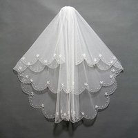 Wholesale Embellished Wedding Veils - 2016 Sparkly Short Bridal Veils Two Layers Pearls Beading Embellished Tulle Wedding Tulle Headpiece Accessories with Comb