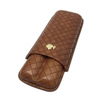 Wholesale Cigar Gadgets Gifts - New COHIBA Gadgets New Brown Woven Pattern Leather Cigar Case 2 Tubes Portable Travel Cigars Humidor with Gift Box
