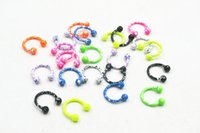Wholesale Wholesale 16g Horseshoe Rings - 100pcs 16G~1.2mm New Horseshoes Ball Ring Nose Ear Lip Nipple ring Mulit Use Ring body piercing jewelry CBR New Colorful 1.2X8X3mm