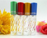 Wholesale Transparent Oil Spray Bottle - 3ml 200pcs lot transparent glass Mini mist spray Perfume bottle Repeated use of the cosmetic bottle essential oil bottle Free Shipping