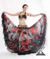 Wholesale Long Chiffon Belly Dance Skirts - Wholesale-New Tribal Bohemian Style Women Chiffon Floral Printing Big Swing Floor-Length Long Skirts Ladies Belly Dance Skirt