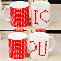 Wholesale Ceramic Mug Stainless Steel - Free shipping 48 pcs lot Love Color Changing Mug Cup Great Gift Ceramic Cup Free Shipping