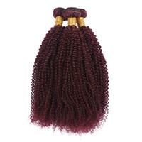 28 inç remy saç uzatma toptan satış-Şarap Kırmızı İnsan Saç Atkı 3 Demetleri Sapıkça Kıvırcık Saç Uzantıları 99j Afro Kinky Kıvırcık Perulu Hint Remy Bakire Saç örgü