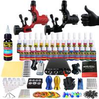 Wholesale Power Supply 16 - Solong Tattoo Beginner Tattoo Machine Gun Kit 2 Pro Machine Guns 28 Inks Power Supply Needle Grips Tips TK204-16