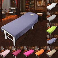 Wholesale Brown Twin Bedding - 80*190cm Cosmetic salon sheets SPA massage treatment bed table cover sheets with hole Sheet