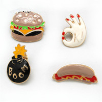 Wholesale Wholesale Costume Jewelry Pins - Food Theme Cute Enamel Brooches Pins Set Cartoon Broches for Women Costume Jewelry Hot Dog Hamburger Metal Hijab Pins Buttons Collar Badges