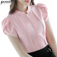 Wholesale Ladies Office Wear Blouses - Fashion Stand collar women shirt OL office puff short sleeve chiffon blouses OL ladies formal work wear summer clothes slim tops