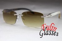 Wholesale Sunglasses Genuine Men - Brand Desinger-Black Mix White Buffalo Genuine horn Sunglasses Rimless Sun Glasses 8200759 or 8200760 Size 60-18-140mm with original case