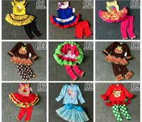 Wholesale Kids Pumpkin Costumes - Christmas Girls rare editions ruffle cloth 2-8T Kids Halloween pumpkin print shirt & leggings outfits Ruched with bow long sleeve Costumes