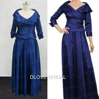 Royal Blue Taffeta Madre del vestito dalla sposa con 3/4 lunghe maniche Real Photo Wedding Guest Dress Un abito di linea Line Floor