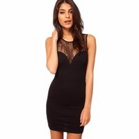 Wholesale Hip Cocktail Dresses - Wholesale- New Women Sexy Lace Dress Sleeveless Slim Hip Bodycon Dresses Cocktail Hollow out Club Party Dress Round neck Black Mini Dress