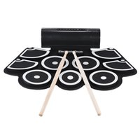 Wholesale Electronic Drums Sets - Wholesale-Portable Electronic Roll Up Drum Pad Set 9 Silicon Pads Built-in Speakers with Drumsticks Foot Pedals USB 3.5mm Audio Cable
