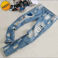 Wholesale Jeans Patch Boy - Fashion Mens Hole Ripped Jeans Men beggar Patch Slim Fit Stretch Washing Light Blue Hip Hop Street Wear BOYS Harem Pants Bottoms