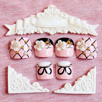 Wholesale Kawaii Nails - Wholesale- New 24 pcs Pink Lady Butterfly Cute High Quality Full Cover French 3D ToeNails For Foot Nail Manicure Kawaii Foot False Nail